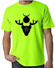 HORNED GOD NEON T-SHIRT - Pagan Wicca Witch Druid Wiccan - Colour Choice