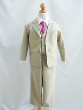 Baby Toddler Teen Khaki/Taupe/Ivory and color long tie formal suit wedding party