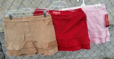 NWT MADISON & CO JR Tiered Cotton Corduroy Stretch Mini Skirt Red Tan OR Pink