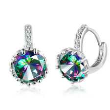 Romantic Precious Gorgeous Rainbow Mystic Topaz Gemstone Silver Earrings 1 1/2""
