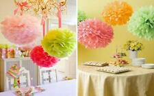 "2x 25cm 10"" Tissue Paper Pom Poms Wedding Party Home Favors Decoration Colours"
