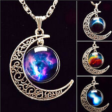 Women Lucky gift Shining Galactic Glass Cabochon Pendant Crescent Moon Necklace