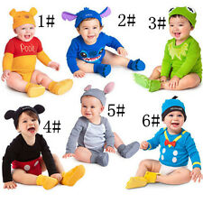 Baby Boys Girls Animal Costume Bodysuit Outfit Romper Clothes Hat Set 0-18months