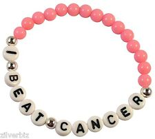 I BEAT CANCER Pink Acrylic 6mm Bead Bracelet Elastic with White Letter Beads