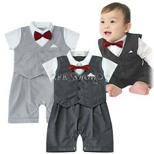Baby Boy Wedding Formal Dressy Tuxedo Suit Striped Romper Outfit Set Size 6-24M