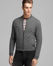 NEW BURBERRY BRIT Men's Marvel Quilted Cotton Jersey Jacket Charcoal Melange