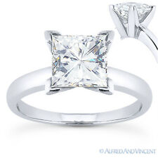 Square Brilliant Cut Moissanite 14k White Gold 4-Prong Solitaire Engagement Ring