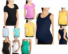 NEW OH! Mamma Maternity Short Sleeve T-Shirt Tank Top Cami Side Ruching S M L XL