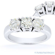 Round Cut Moissanite 14k White Gold 4-Prong Basket 3 Three-Stone Engagement Ring