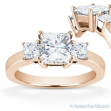Square Brilliant Princess Moissanite 14k Rose Gold 3 Three-Stone Engagement Ring