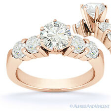 Round Cut Moissanite 6-Prong Ctr 5 Five-Stone Engagement Ring in 14k Rose Gold
