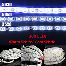 5M 5630 5050 3528 SMD  Warm Cool White 300 LED Flexible Strip Light DIY Tape