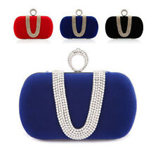 New Womens Rhinestone Knuckle Ring Clutch Handbag Party Chain Evening Bag Purse