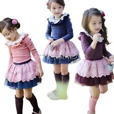 NWT Girls Kid Ruffle Neck Long Sleeve Top Shirt+Tutu Tulle Skirt 2PCS Outfit 2-6