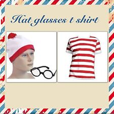 CHILDRENS RED  WHITE STRIPED T SHIRT HAT GLASSES  FANCY DRESS  BOOK WEEK uk