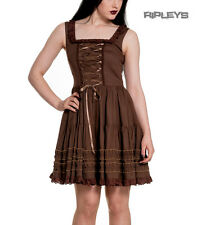 HELL BUNNY Goth DRESS Brown GRACE Steampunk Victorian Vintage All Sizes