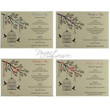 Personalised Ivory Wedding Menu Insert Cards Bird Cage And Hollow Heart Design