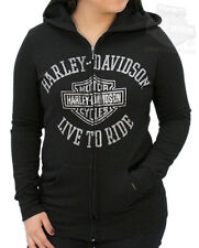 Harley-Davidson Womens Distressed Grey B&S Live To Ride Black Hoodie Jacket