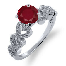 1.77 Ct Round Red Ruby 925 Sterling Silver Ring