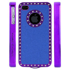 Apple iPhone 4 4S Gem Crystal Rhinestone Blue Shimmer Plastic case