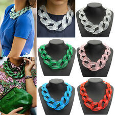 Fashion Lady Jewel Acrylic Collar Chunky Choker Statement Chain Necklace Pendant