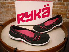 Ryka Black Leather Bungee Slip on Skimmer Flats NEW