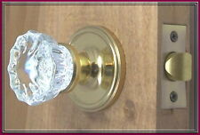 Crystal Fluted Reproduction Door Knob Set Polished Brass EZ-Install-Affordable