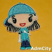Girl Iron on Sew Patch Applique Sew Badge Embroidered Cute Biker Cute Baby Rock