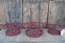 Metal Chicken Wire Red Gathering Centerpiece BASKETS ~ Choose Size ~ Rooster