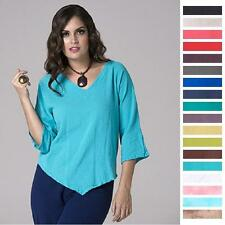 OH MY GAUZE Cotton LYNN V-Neck V-Hem Top 1 (S/M) 2 (L/XL) 3 (1X/2X) 2015 COLORS
