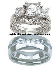 ~ SALE ~ 3Pc His Hers Titanium & Sterling Silver Cz Engagement Wedding Ring Set