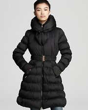 Nwt LAUNDRY By Shelli Segal Black Belted Down Puffer Coat Jacket