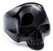 316L Stainless Steel Men's Cool Black Hell Death Skull Rings US size 7-14