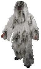 New Full Body Snow Camo Ghillie Suit Mens M/L or XL/XXL 5PC. W/Bag Good Cover