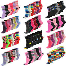 6 pairs ladies womens girls coloured socks novelty design ankle designer adults