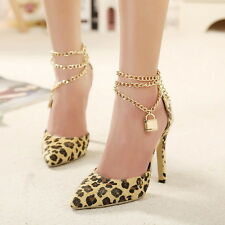 Fashion Sexy Leopard Print Gold Chain Pointy Toe High Heels Stiletto Pumps Shoes