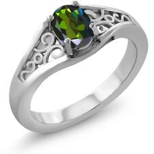 0.95 Ct Oval Forest Green Mystic Topaz 14K White Gold Ring