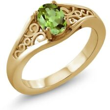 0.80 Ct Oval Green Peridot 18K Yellow Gold Ring