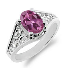0.85 Ct Oval Pink Tourmaline 18K White Gold Ring