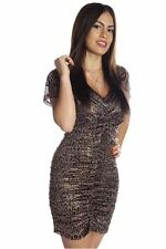 DEALZONE Sexy Snake Print Ruched Dress S Small Women Brown Clubwear