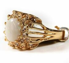 Vintage Genuine Opal & Austrian Crystal Edwardian Gold Tone Ring Made in USA 199