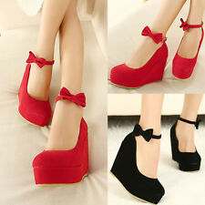 Womens Suede Wedding Bridal Platform Wedge Bowknot Ankle Strap High Heels Shoes