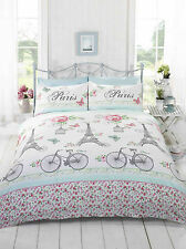 Pink Cest La Vie Chic Paris Bicycles Eiffel Tower Quilt Doona Duvet Cover Set