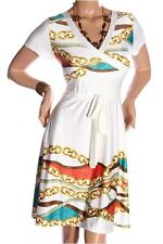 121AVENUE Alluring Printed Knee Length Dress 1X 2X 3X Women Plus Size White