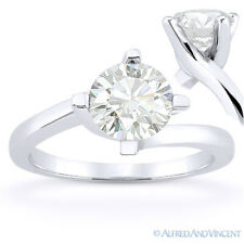 Round Cut Forever Brilliant Moissanite 14k White Gold Solitaire Engagement Ring