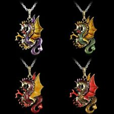 Retro Fire Dragon Pendant Necklace Jewelry Sweater Long Chain Crystal Gifts New