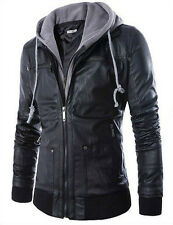 European Style Slim Fit Hooded Men's Black Motorcycle PU Leather Jacket Coats