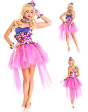 Colorful Showgirl Burlesque Dancer Can Can Girl Costume Clown Circus Fancy Dress