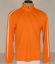 Puma Cell Orange & White Moisture Wicking Long Sleeve 1/4 Zip Polo Shirt Mens