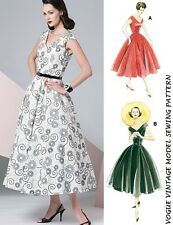 VOGUE VTG 50's RETRO PATTERN ROCKABILLY FULL SKIRT PIN UP PARTY DRESS SIZE 6-20